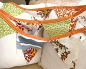 Vintage Bunting in Oranges and Greens w/ Orange Binding