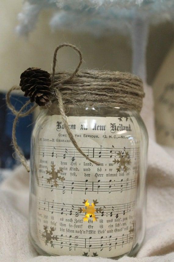 Repurposed Lighted Mason Jar With Vintage German Hymnal