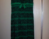 true Vintage Black and Green Lace dress with Bow Rockabilly str8 out of the 1950s