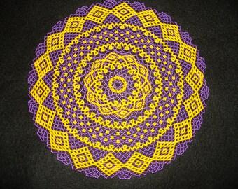 Metallic Purple and Gold  (LSU) Beaded Lace Design Doily