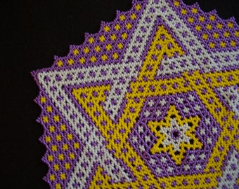 Metallic Purple and Gold (LSU colors) Beaded Star Design Doily