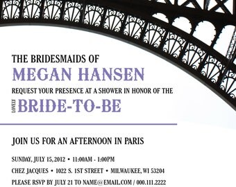 Afternoon in Paris Bridal Shower Invitation
