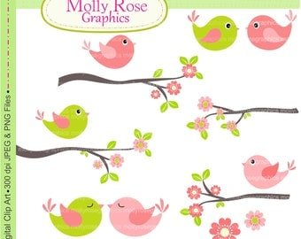 birds clip art , Digital Clip Art ,Pink and Green Bird with branch , Invitations, Card Making, Scrapbooking  M.09