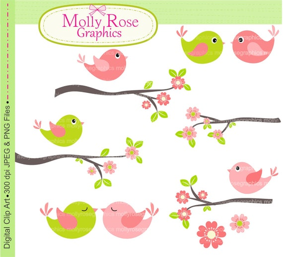 SALE birds clip art , Digital Clip Art ,Pink and Green Bird with branch , Invitations, Card Making, Scrapbooking  M.09
