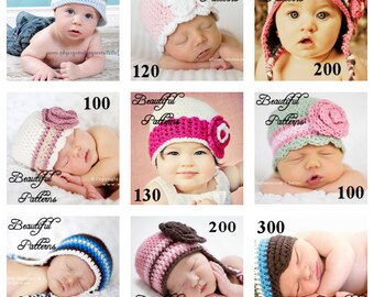 Crochet Hat Pattern 5 For 20.00 Crochet Patterns PDF Sale Pack Combo Deal - Right to Sell Finished Items