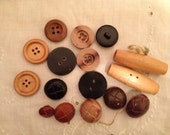 16 Assorted Wood, Leather & Plastic Vintage Buttons