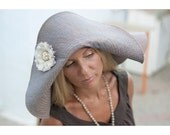 Made to order lilac linen fabric summer hat, wide-brimmed textile hat with flower brooch