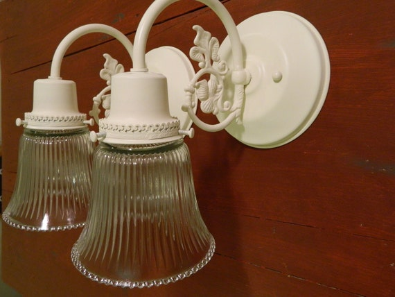 Wall Sconces Shabby Chic : Upcycled Pair Of Cream Shabby Chic Ornate Wall Sconces
