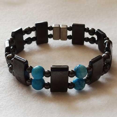 Mens Magnetic Bracelet Blue Unisex Hematite Bracelet 6004