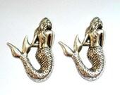 2 Antique Silver Mermaid Charms - 21-52-2