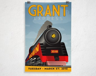 24x36 - Custom Retro Train Poster - Printable Digital File