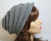 Black Friday Sale 20% OFF   Hand Knit Alpaca Swirl Slouchy Hat in Gray