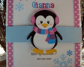 Winter Wonderland Invitations, Penguin Invitation , Winter Onederland
