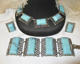 Vintage Jewelry Set Chunky Faux Turquoise