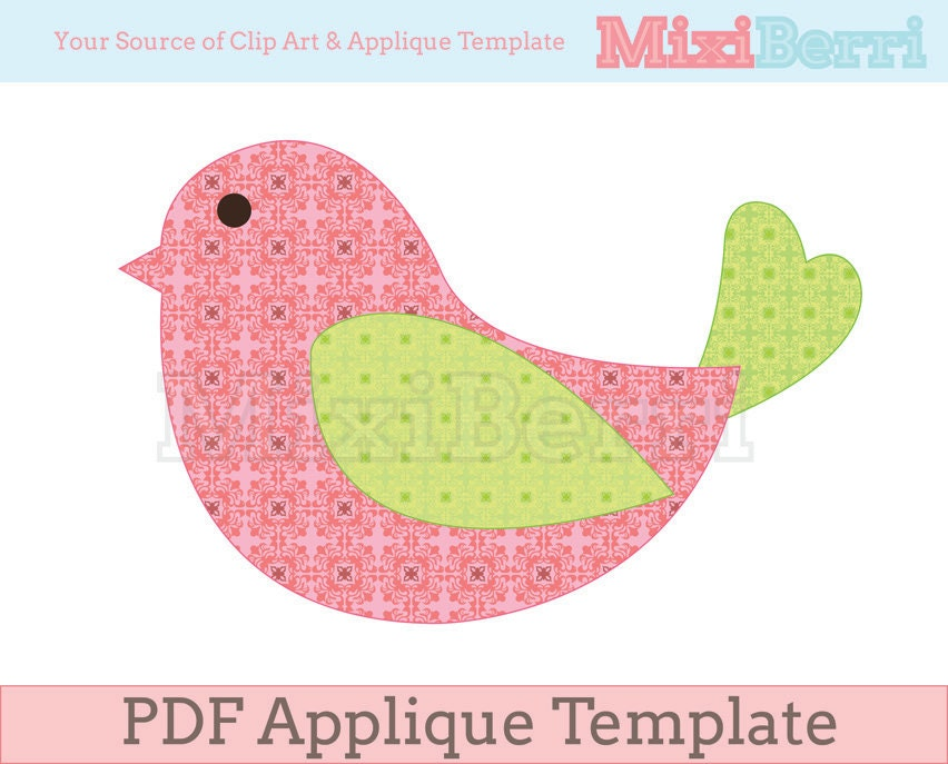 bird applique template pdf instant download. Black Bedroom Furniture Sets. Home Design Ideas