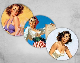 Pinup Girls - 1 inch Circles - Digital Collage Sheet - Best for bottle caps, jewelry pendants - PINUP NR3
