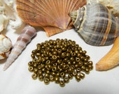 Golden Bronze Colored Plus-sized Glass Seed Beads, Size 6/0