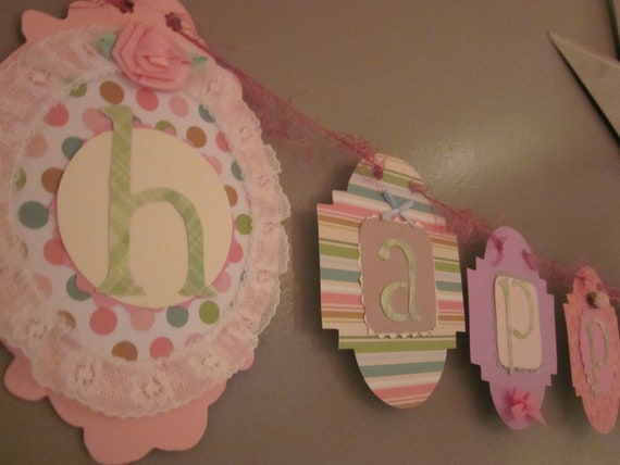 CLEARANCE SALE Happy first 1st Birthday Banner girl birthday party sign decorations shabby chic vintage style