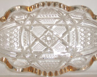 VINTAGE CUT GLASS Serving Dish Candy Dish Gold Trim Home Decor Kitchen Decor Holiday Entertaining