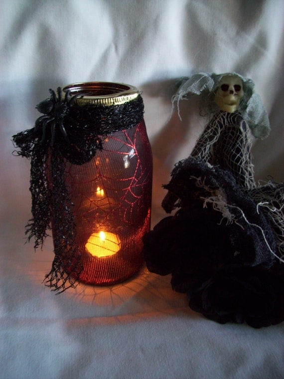 HALLOWEEN MASON Jar CANDLE Holder Upcycled, handmade, holiday decor, trick or treat, outside decor, home and living,