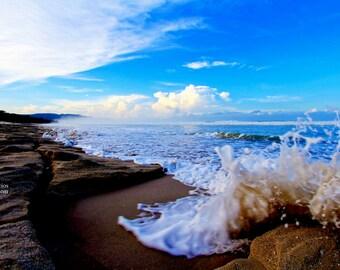 ocean splash, foam board, foaming, surf, blue skies, reef, of all the walks, wall decor, lightroom, wanderlust, lifestyle, yoga, blue, 8x10