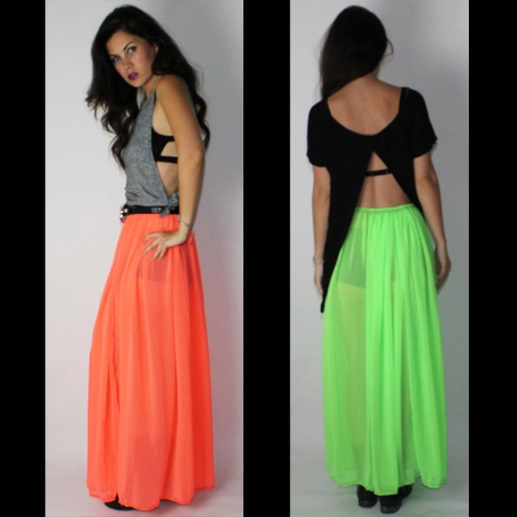 Neon Orange Sheer Maxi Skirt