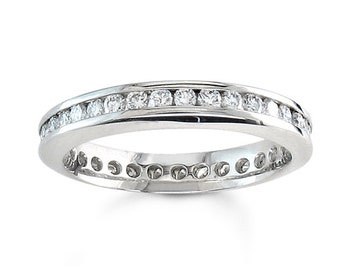 Ladies 14kt white gold round diamond channel wedding band 0.50 ctw G-VS2 diamonds