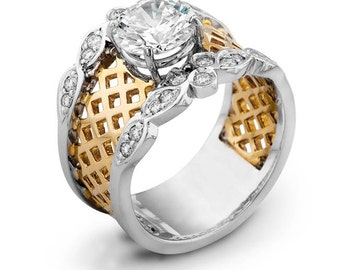 Ladies 14kt two-tone wide engagement ring 0.25 ctw G-VS2 diamond quality with natural 2ct Round White Sapphire