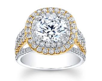Ladies 14kt two-tone diamond engagement ring 1.25 ctw G-VS2 diamonds with 2ct Round White Sapphire center