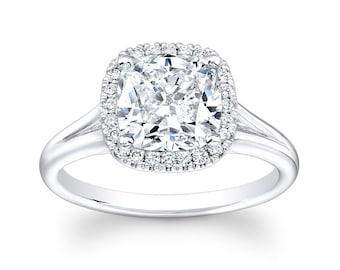 Ladies Platinum pave diamond cushion halo engagement ring 0.25 carats G-VS2 diamonds and 1.70ct Cushion shape White Sapphire Ctr