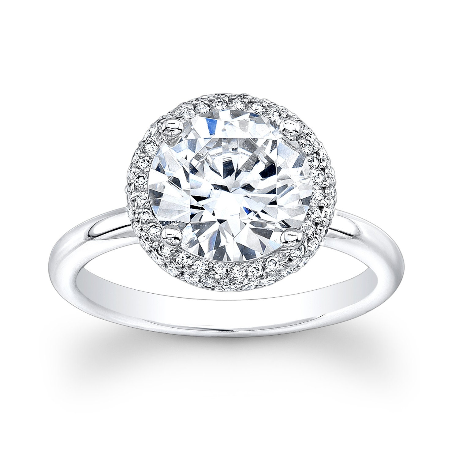 La s 18kt white gold diamond halo engagement ring with 2 00