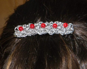 Aluminum chainmail Barette with 5.75mm Red Glass Beads