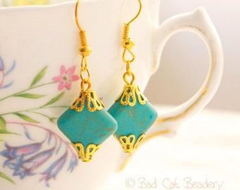 Blue Butterfly Turquoise Blue Crystal Drop Earrings Pierced Silver Shepherd Hooks