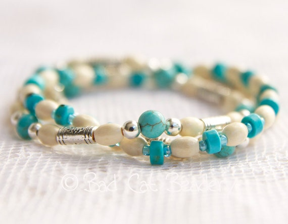 Boho Chic Turquoise Blue White Bead Stack Stretch Bracelets in Blue Turquoise, White Ivory Wood and Tibetan Silver - artist Gwen Duda