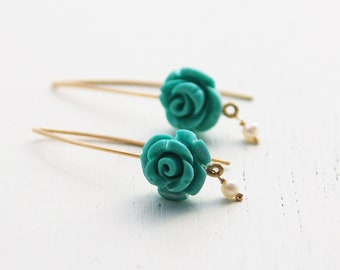 Turquoise rose earrings, turquoise gold earrings, pearl and turquoise earrings, rose earrings, bridesmaid earrings