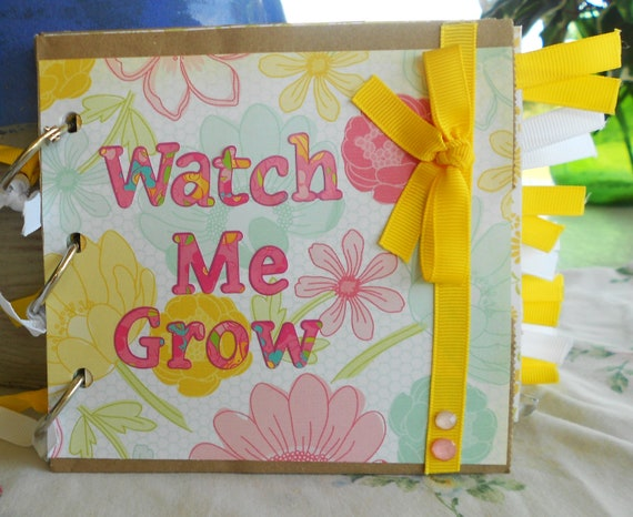 MADE TO ORDER Customized 5 x 5.5 Watch Me Grow Month by Month Baby Girl Album