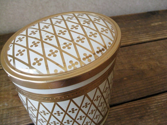 Vintage Oval Gold & Ivory Tin Canister - Glam Decor Accessory