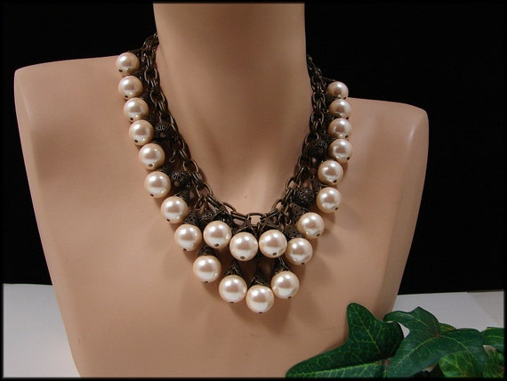 RESERVED For Bailbondlady GERARD YOSCA Chunky Runway Faux Pearl Statement Bib Necklace Vintage