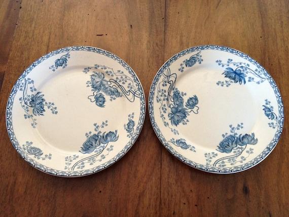 """Set of 2 vintage plates French Sarreguemines """"Royat"""""""
