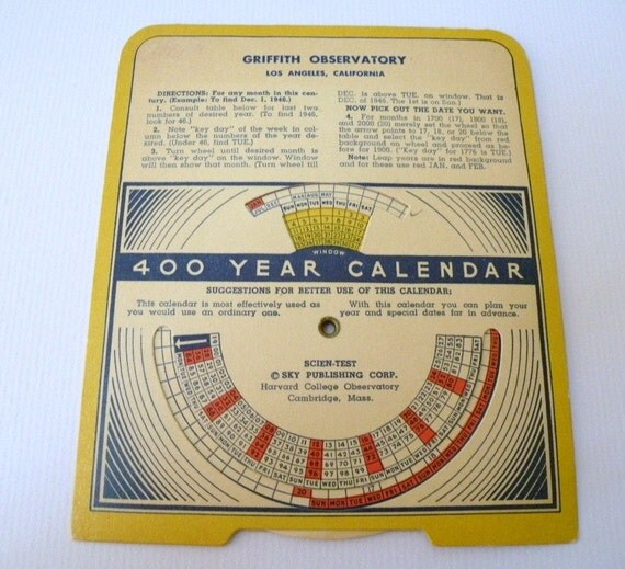 1940s Griffith Observatory 400 year calendar paper Wheel RARE