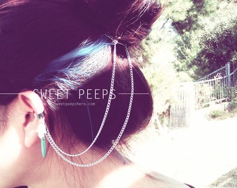 Silver Ear Cuff Hair Piece Comb Accessory with Evil Eye Silver Hand Charm and Turquoise Howlite Stone