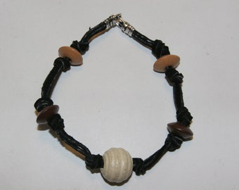 Leather, Wood and Sterling Silver bracelet