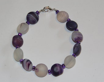 Purple Swirl Bracelet with Glass Beads and Lobster clasp