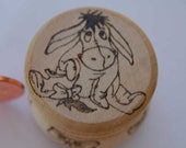 Eeyore & Bows - Round Screw Top Wooden Trinket Box - Lovely item - pyrography