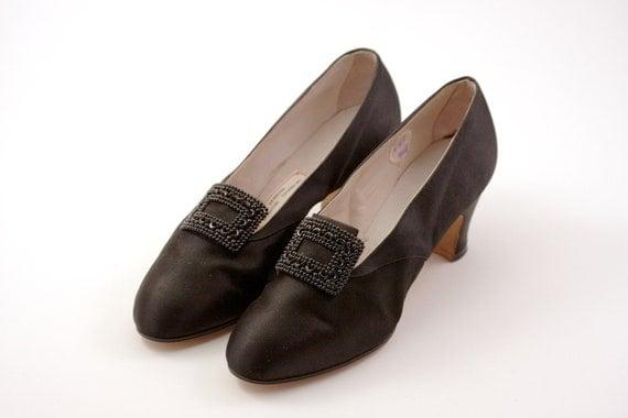 RARE Antique Innes Shoe Company Custom Made Black Satin Silk Collectible Circa 1930's 1940's