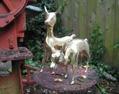 Beautiful Pair of Brass Deer
