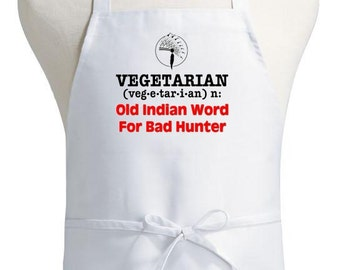 funny cooking apron vegetarian bad hunter novelty kitchen aprons - Cooking Aprons