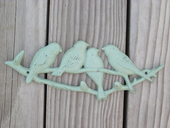 Sage Green Cast Iron Birds Wall Hanging Home Decor