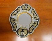 On Sale PERUVIAN HANDCRAFTED MIRROR Black, Gold, White And Red Flower Design Reverse Painted  Vintage Wall Hanger Accent
