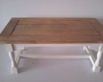 Doll house table in colourer of your choice with wood or painted top 1 12th scale miniature table